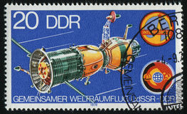 Postage stamp. GERMANY- CIRCA 1978: stamp printed by Germany, shows Soyuz Camera and Space Complex, circa 1978 royalty free stock image