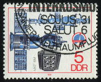 Postage stamp. GERMANY- CIRCA 1978: stamp printed by Germany, shows Soyuz Camera and Space Complex, circa 1978 royalty free stock images