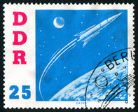 Postage stamp. GERMANY - CIRCA 1961: stamp printed by Germany, shows Spaceship Vostok, circa 1961 stock photo