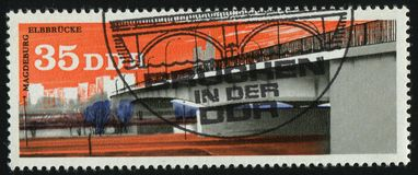 Postage stamp. GERMANY- CIRCA 1976: stamp printed by Germany, shows Elbe river bridge, Magdeburg, circa 1976 royalty free stock photography