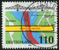 Postage stamp. GERMANY - CIRCA 1998: stamp printed by Germany, shows map and bridge, circa 1998 stock image