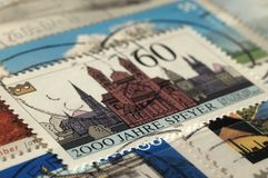 Postage stamp of Germany. Edition on Cityscapes, shows 2,000th Anniversary of Speyer royalty free stock photo
