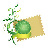 Postage stamp and globe. Vector Stock Image