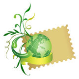 Postage stamp and globe. Vector Royalty Free Stock Images