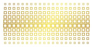 Postage Stamp Gold Halftone Effect. Postage stamp icon gold halftone pattern. Vector postage stamp items are arranged into halftone matrix with inclined gold Stock Photos
