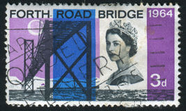 Postage stamp. GREAT BRITAIN - CIRCA 1964: Forth Road Bridge, circa 1964 stock photography