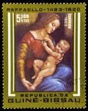 Guinea-Bissau Postage Stamp Depicting Artwork From Raffaello. A postage stamp from Guinea-Bissau depicting a painting from the artist Raffaelo (Raphael)  Sanzio royalty free stock photo