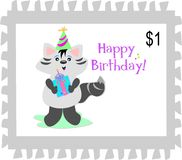Postage Stamp of a Happy Birthday Raccoon Stock Image