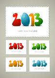 Postage stamp Happy new  year. Four postage stamps Happy new  year, cartoon illustration Stock Images