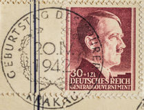 Postage stamp on Hitler`s birthday. German Reich, 1942 - A postage stamp with the image of Adolf Hitler printed in Krakow to celebrate his 52nd birthday Royalty Free Stock Photo