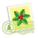 Postage stamp with holly Royalty Free Stock Photography