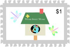 Postage Stamp of Home Sweet Home Birdhouse Royalty Free Stock Photos