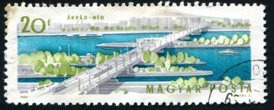 Postage stamp. HUNGARY - CIRCA 1964: stamp printed by Hungary, shows Arpad Bridge, circa 1964 stock photography