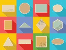 Postage stamp icons set, flat style. Postage stamp icons set. Flat illustration of 12 postage stamp vector icons for web Stock Photo