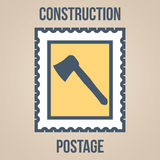 Postage stamp icons of silhouettes of construction tools. Axe Stock Image