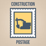 Postage stamp icons of silhouettes of construction tools. Excavator Royalty Free Stock Image