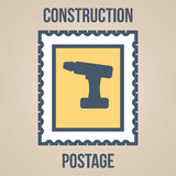Postage stamp icons of silhouettes of construction tools. Screwdriver Royalty Free Stock Image