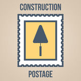 Postage stamp icons of silhouettes of construction tools. Trowel Royalty Free Stock Photo