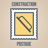 Postage stamp icons of silhouettes of construction tools. Trowel for plastering Royalty Free Stock Images