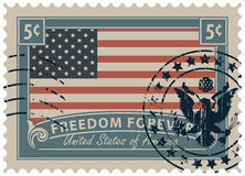 Postage stamp with the image of the American flag Stock Photo