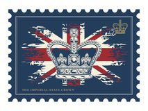 Postage stamp with imperial crown on UK flag. Stock Photos