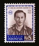 Postage stamp Indonesia 1966.  Military Officer Harjono