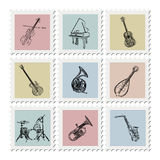 Postage stamp instruments Royalty Free Stock Images