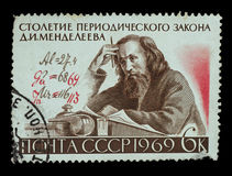 Postage Stamp isolated. TERNOPIL, UKRAINE - OCTOBER 19, 2016: stamp printed in USSR shows scientist Dmitri Mendeleev 1834-1907 with author`s Formula corrections Royalty Free Stock Image