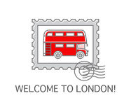 A Postage Stamp with London Double Decker Stock Photo