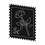 Postage Stamp.Mail and postman single icon in black style vector symbol stock illustration web. Stock Photo