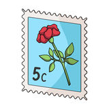 Postage Stamp.Mail and postman single icon in cartoon style vector symbol stock illustration web. Royalty Free Stock Photography