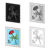 Postage Stamp.Mail and postman single icon in cartoon style vector symbol stock illustration web. Stock Photo