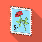 Postage Stamp.Mail and postman single icon in flat style vector symbol stock illustration web. Stock Images