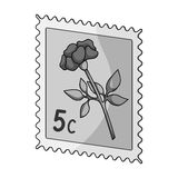 Postage Stamp.Mail and postman single icon in monochrome style vector symbol stock illustration web. Stock Photography