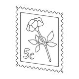 Postage Stamp.Mail and postman single icon in outline style vector symbol stock illustration web. Royalty Free Stock Photos