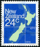 Postage stamp. Map of New Zealand Stock Image