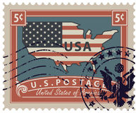 Postage stamp with map of USA in colors of flag. Map of America in colors of the national flag with inscription. Vector illustration of a 5-cent USA postage Royalty Free Stock Photography