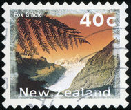 Postage stamp. New Zealand - Fox Glacier Stock Image