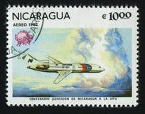 Postage stamp. NICARAGUA - CIRCA 1982: stamp printed by Nicaragua, shows plane, circa 1982 stock image