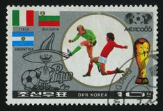 Postage stamp. NORTH KOREA - CIRCA 1986: World Cup soccer Championships, Mexico City, circa 1986 stock photography