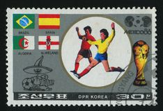 Postage stamp. NORTH KOREA - CIRCA 1986: World Cup soccer Championships, Mexico City, circa 1986 stock images