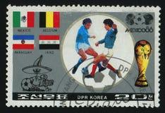Postage stamp. NORTH KOREA - CIRCA 1986: World Cup soccer Championships, Mexico City, circa 1986 stock image