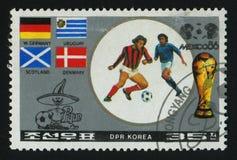 Postage stamp. NORTH KOREA - CIRCA 1986: World Cup soccer Championships, Mexico City, circa 1986 stock photos