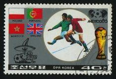 Postage stamp. NORTH KOREA - CIRCA 1986: World Cup soccer Championships, Mexico City, circa 1986 royalty free stock image