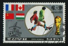 Postage stamp. NORTH KOREA - CIRCA 1986: World Cup soccer Championships, Mexico City, circa 1986 royalty free stock photo