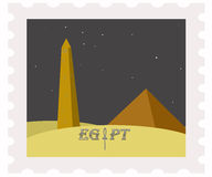 Postage stamp. obelisk at night. Illustration of egypt pyramids and obelisk on post stamp Stock Photos