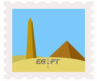 Postage stamp obelisk,pyramid, blue sky Stock Photography