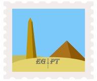 Postage stamp obelisk,pyramid, blue sky. Illustration of egypt pyramids and obelisk on post stamp Stock Photography