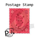 Postage Stamp On White Background. Beautiful Red Dragon Stamp. Royalty Free Stock Images