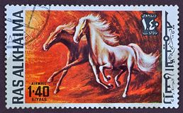 Postage stamp, painted horses Stock Image